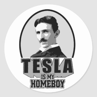 Tesla Is My Homeboy Round Stickers