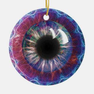 Tesla's Eye Fractal Design Round Ceramic Decoration