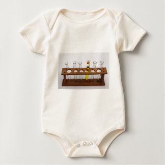test tubes science lab equipment and flower baby bodysuit