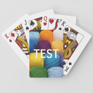 testing yarn playing cards