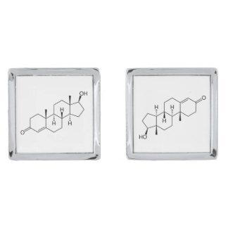Testosterone hormone silver finish cuff links