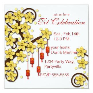"""Tet Hoa Mai 5.25"""" Square Invitation Card"""