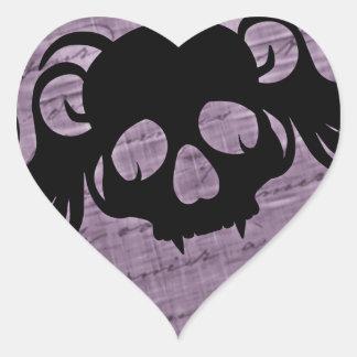 Tete de mort gothique noir et violet heart sticker