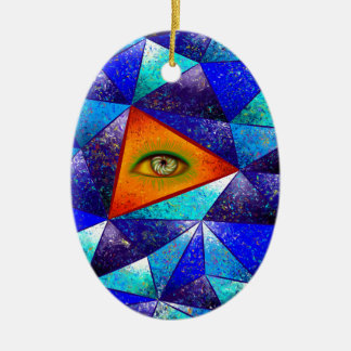 Tethrous V1 - watching triangle Ceramic Oval Decoration