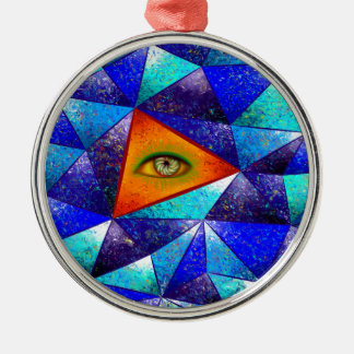 Tethrous V1 - watching triangle Silver-Colored Round Decoration