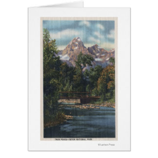 Teton National Park, WY - Twin Peaks View Greeting Card
