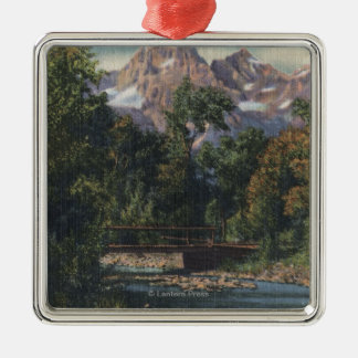 Teton National Park, WY - Twin Peaks View Silver-Colored Square Decoration