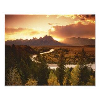Teton Range at sunset, from Snake River Photo