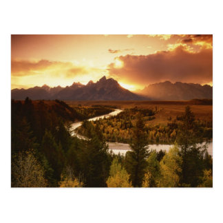 Teton Range at sunset, from Snake River Postcard