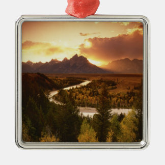 Teton Range at sunset, from Snake River Silver-Colored Square Decoration