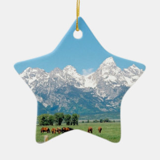 Tetons and Horses Ceramic Ornament
