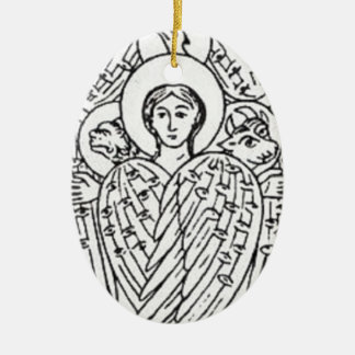Tetramorph, Black and White Ceramic Ornament