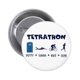 Tetrathon Triathlon T-shirt 6 Cm Round Badge
