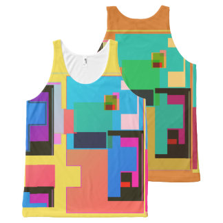 Tetris Type Shapes All-Over Print Singlet