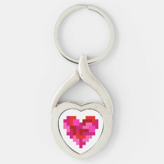 Tetromino Heart Metal Keychain Silver-Colored Twisted Heart Key Ring