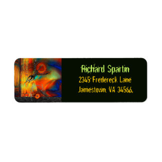 Tetrus Abstract Mixed Media Business Residential Return Address Label