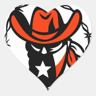 Texan Outlaw Texas Flag Barb Wire Icon Heart Sticker