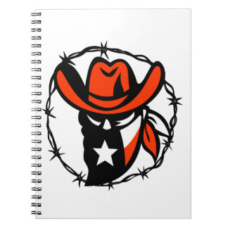Texan Outlaw Texas Flag Barb Wire Icon Notebooks