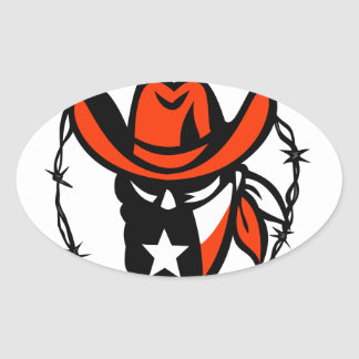 Texan Outlaw Texas Flag Barb Wire Icon Oval Sticker