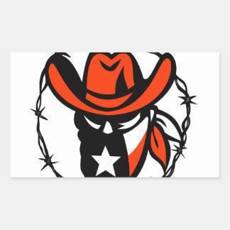 Texan Outlaw Texas Flag Barb Wire Icon Rectangular Sticker