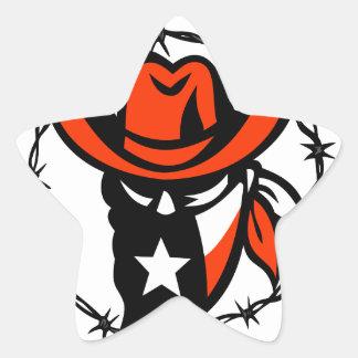 Texan Outlaw Texas Flag Barb Wire Icon Star Sticker