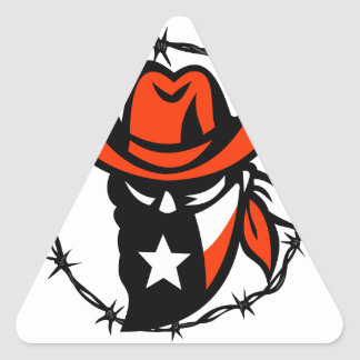 Texan Outlaw Texas Flag Barb Wire Icon Triangle Sticker