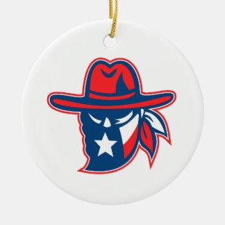 Texan Outlaw Texas Flag Mascot Ceramic Ornament