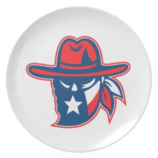 Texan Outlaw Texas Flag Mascot Plate