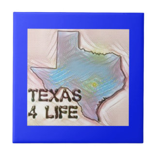 """Texas 4 Life"" State Map Pride Design Ceramic Tile"