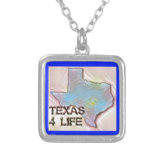 """""""Texas 4 Life"""" State Map Pride Design Silver Plated Necklace"""