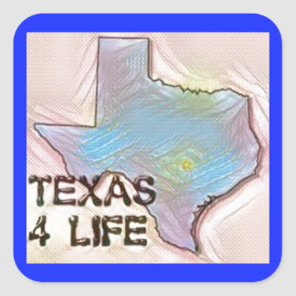 """Texas 4 Life"" State Map Pride Design Square Sticker"