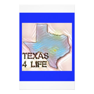 """""""Texas 4 Life"""" State Map Pride Design Stationery"""