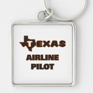 Texas Airline Pilot Silver-Colored Square Key Ring