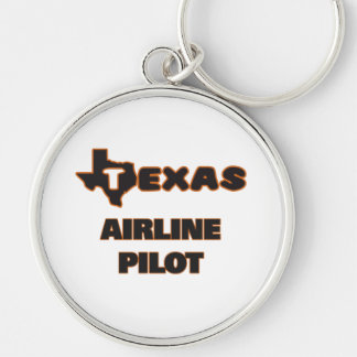 Texas Airline Pilot Silver-Colored Round Key Ring