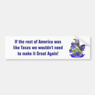 Texas Already Great Mockingbird & Bluebonnet Bumper Sticker