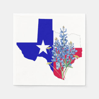 Texas and Bluebonnets Paper Napkin