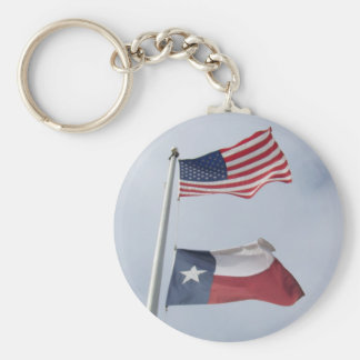 Texas and United States Flag Keychain