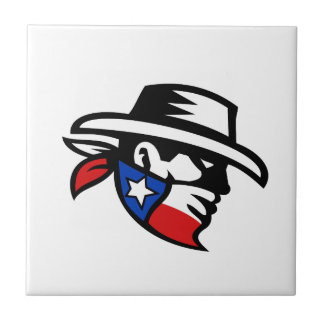 Texas Bandit Cowboy Side Retro Ceramic Tile