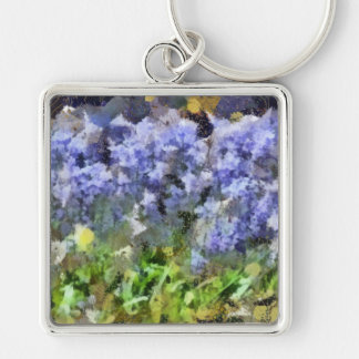 Texas Bluebells Silver-Colored Square Key Ring