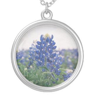 Texas Bluebonnet Round Pendant Necklace