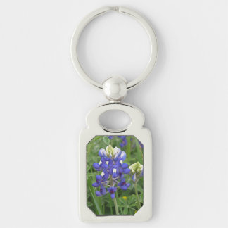 Texas Bluebonnet Silver-Colored Rectangle Key Ring