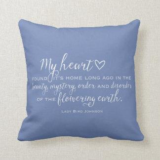 Texas Bluebonnet Wildflower Quote Throw Pillow