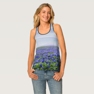 Texas Bluebonnets and Blue Sky Print Singlet