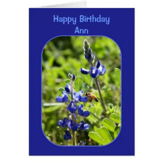 Texas Bluebonnets Ann Happy Birthday Blank Card