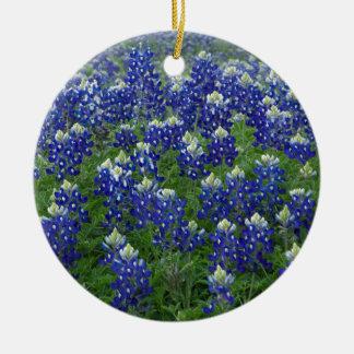 Texas Bluebonnets Field Photo Ceramic Ornament