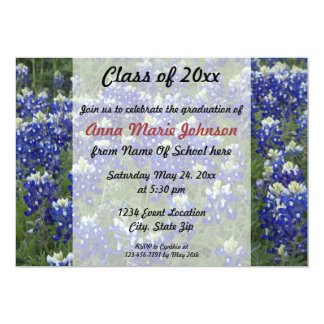 Texas Bluebonnets Field Photo Graduation 13 Cm X 18 Cm Invitation Card
