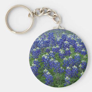 Texas Bluebonnets Field Photo Basic Round Button Key Ring