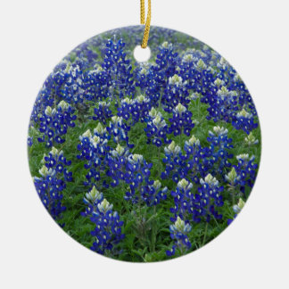 Texas Bluebonnets Field Photo Round Ceramic Decoration