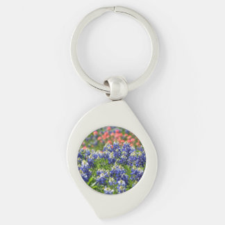 Texas Bluebonnets Key Chain Silver-Colored Swirl Key Ring