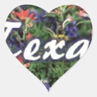 Texas Bluebonnets Paintbrushes Heart Sticker